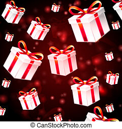 abstract red background with white presents