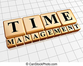 time management in golden cubes - text time management in 3d...