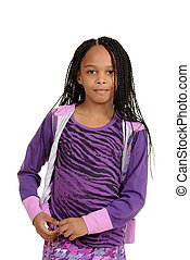 Young black child wearing purple