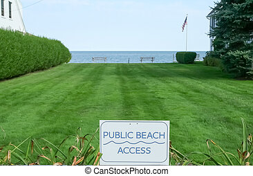 Public Beach Access - A strip of grass reserved for public...