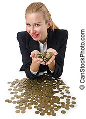 Woman with lots of coins on white