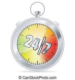 24/7 Concept with Timer icon, isolated on white, vector...