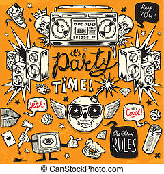 Old School Style Party - Set of vector design elements drawn...