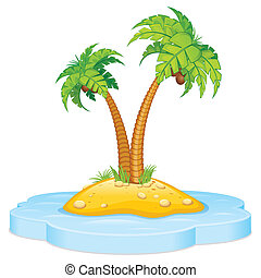 Tropic Island with Coconut Palm - Cartoon Tropical Island...