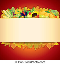 Thanksgiving Celebration illustration Banner with Vegetable...