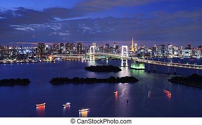 Tokyo Bay - Rainbow Bridge spanning Tokyo Bay with Tokyo...