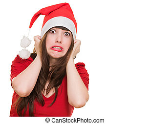 scared woman wearing a christmas hat against a white...