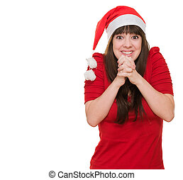 excited woman wearing a christmas hat against a white...