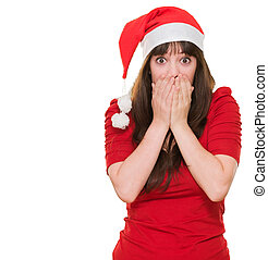 surprised christmas woman covering her mouth against a white...