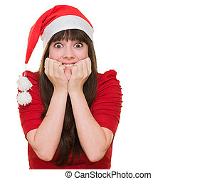 Extremely excited woman wearing a christmas hat against a...