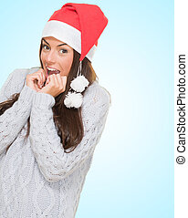 Christmas woman waiting for her gift