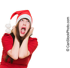 stressed woman wearing a christmas hat against a white...
