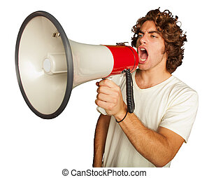 Portrait Of A Handsome Young Man Shouting With Megaphone On...