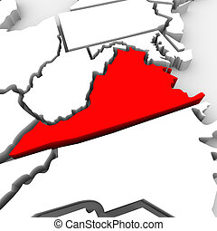 Virginia Red Abstract 3D State Map United States America - A...