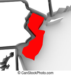New Jersey Red Abstract 3D State Map United States America -...