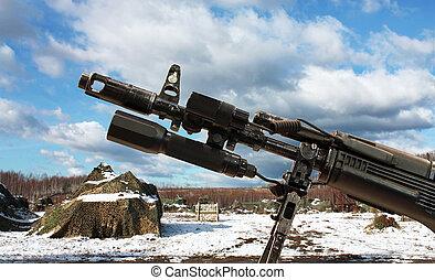 Assault rifle?s barrel - Barrel with flash suppressor,...