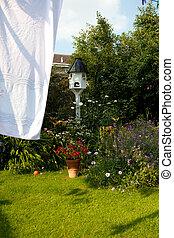 washing drying garden flowers