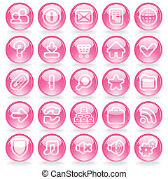Shine Pink Glass Buttons - Pink Glass Web Buttons Vector Set...