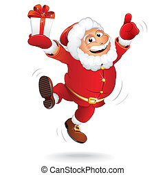 Cartoon Santa Clause - Happiness Santa Claus. Vector Cartoon...