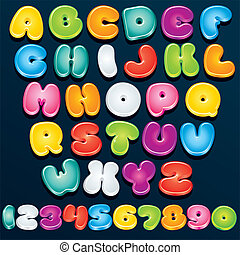 3D Cartoon Font - Cartoon Font. Multicolored Vector Letters...