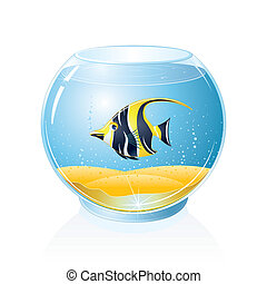 Aquarium with Tropical Fish - Fish Bowl with Exotic Fish...