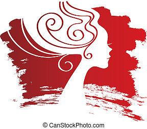 Woman silhouette on blot background
