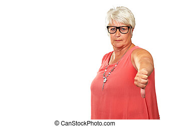Senior Woman With Thumbs Down Isolated On White Background