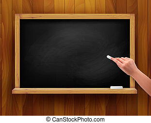 Blackboard with hand on wooden back