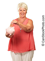 Senior Woman Holding A Piggybank On White Background