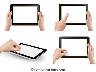 Set of tables pc with hands Vector