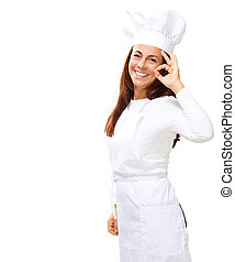 Woman chef gesturing on white background