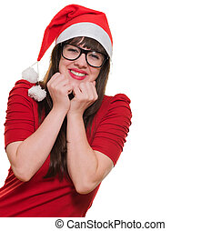 excited christmas woman wearing glasses against a white...