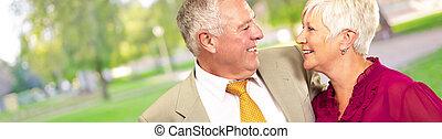 Portrait Of A Happy Senior Couple, Outdoor