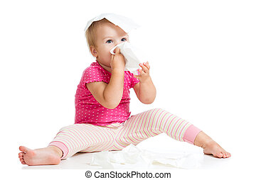 kid wiping or cleaning nose with tissue isolated on white -...