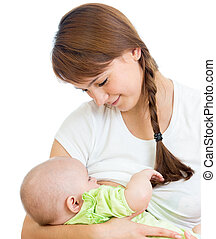 mother breast feeding and hugging her baby