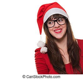 happy christmas woman wearing glasses and looking to a side...