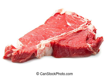 raw T-bone  on white background