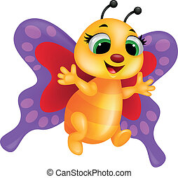 Funny butterfly - Vector illustration of funny butterfly