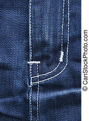 Front detail of blue jeans