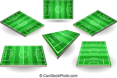 set of Soccer fields in six different positions - Detailed...