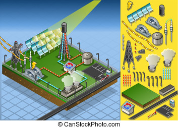 isometric termo solar plant in production of energy -...