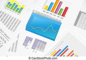 Financial statements and line chart