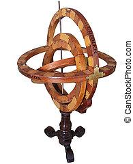 antiguo, astrolabio, contenido, trabajando, condición
