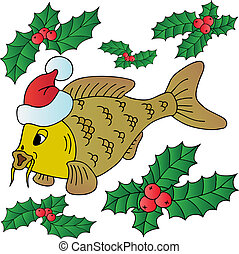 Carp with Xmas cap - vector illustration.