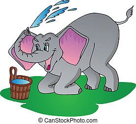 Elephant make shower - vector illustration