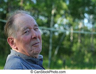Elderly man enjoying outdoors