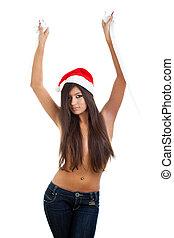 Girl wearing Santa Claus hat
