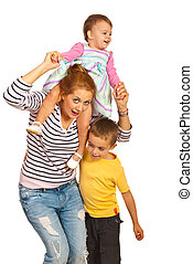 Happy mom playing with her kids - Happy mom having fun with...