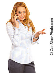 Executive woman talk by phone mobile - Blond executive woman...