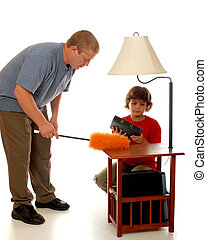 Domestic Dust Busters - Daughter assisting her dad as he...